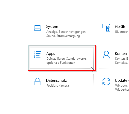 "Öffne ""Apps"" in den Windows-Einstellungen"