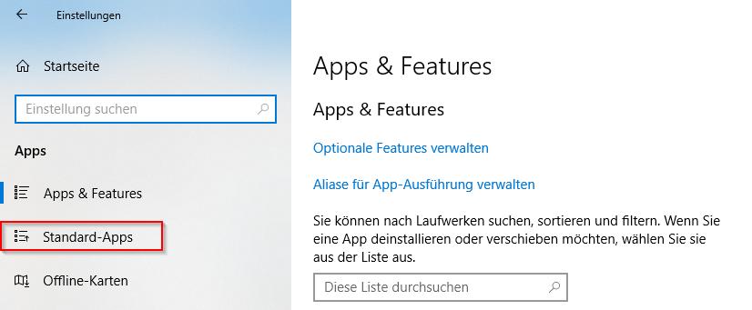 "Öffne ""Standard-Apps"""