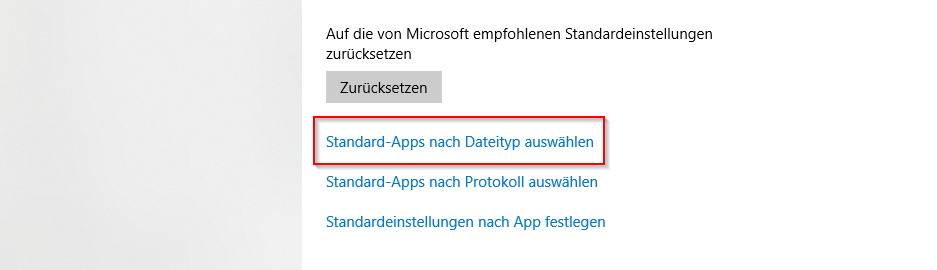 """Wähle unten """"Standard-Apps nach Dateityp auswählen"""""""