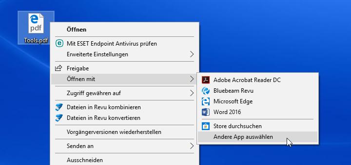 Windows 10: PDF-Dateien nicht mehr im Edge öffnen